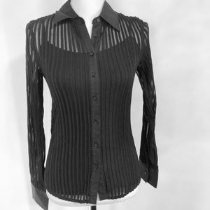 Express Sheer Ribbed Buttoned Blouse Size Medium
